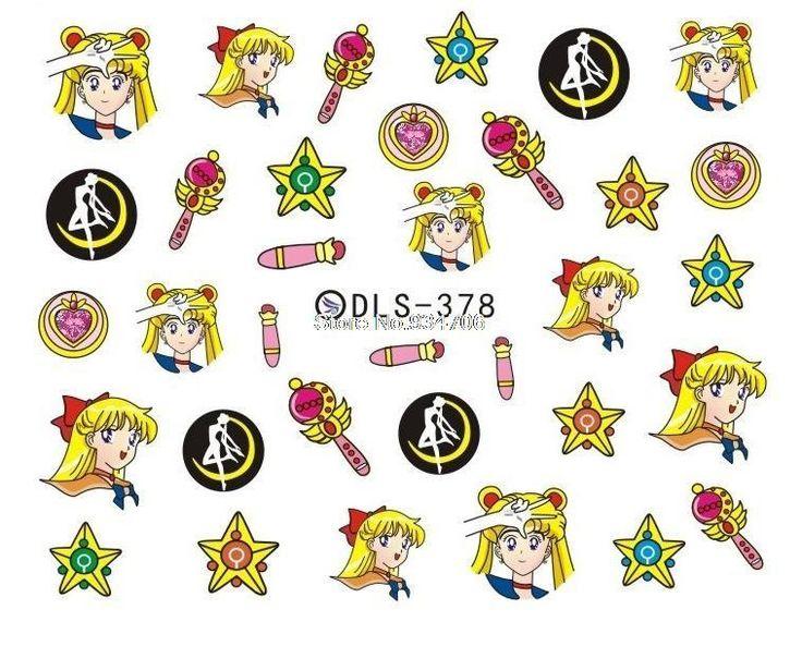 DLS377-382 DIY Water Transfer Foils Nail Art Sticker Fashion Nails Cartoon Harajuku Sailor moon Decals Minx Nail Decorations