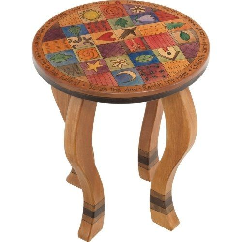 Round End Table Colorful Block Icons Reused Furniture Sticks