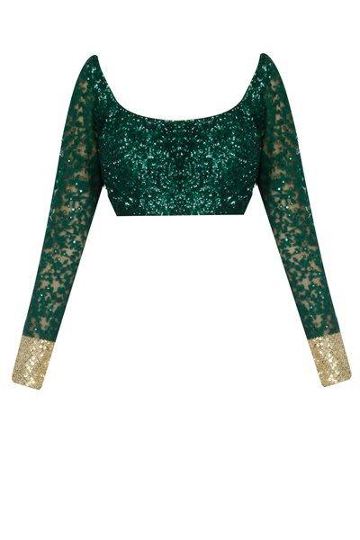 Sarees, Sarees, Clothing, Carma, Ombre green embroidered half and half saree