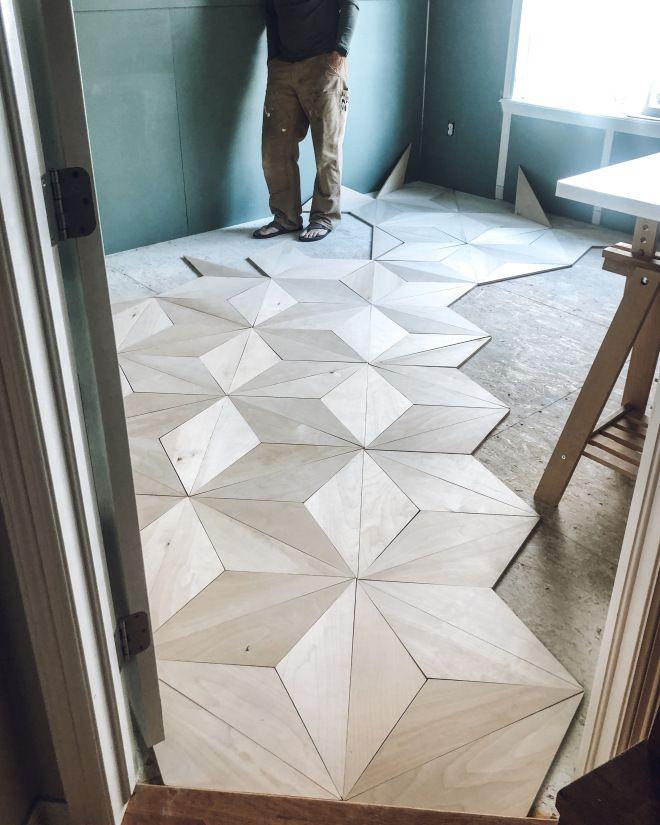 Diy Geometric Plywood Floor In 2020 Flooring Plywood Flooring