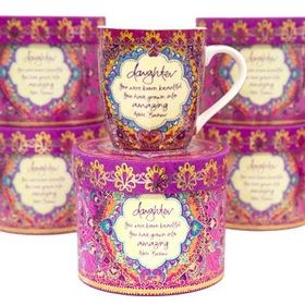 "Daughter Mug ""You were born beautiful, You have grown into amazing"" by Adèle Basheer. Inspiring Gifts online at www.threemadfish.com"
