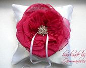 Ring Bearer Pillow with Hot PINK Real Silk Rose and Clear Rhinestone