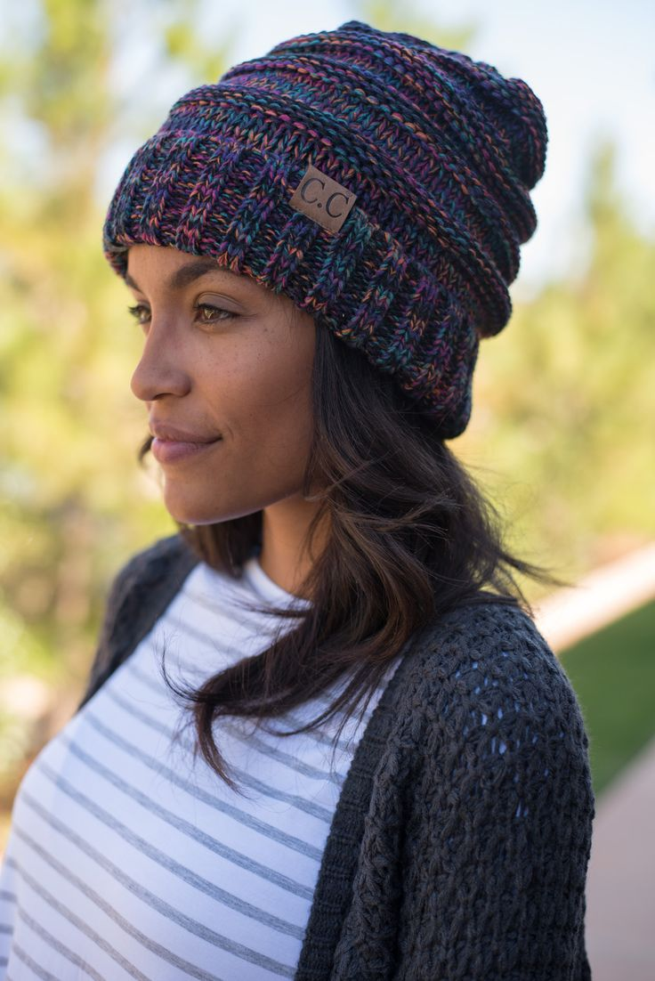 CC oversized slouchy tri color beanie black from Lush Fashion Lounge