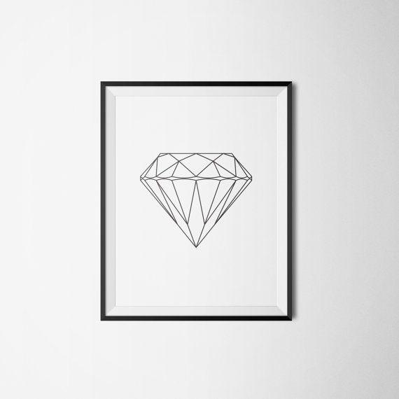 Diamond gem lines diamant Art print A3 by Itchyprints on Etsy