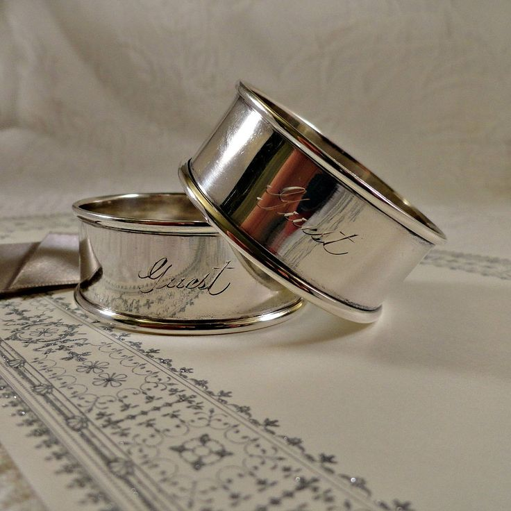 Sterling Napkin Ring Set, GUEST engraved Sterling Napkin Rings, Watson Sterling Silver Napkin Rings Wedding by SilverFoxAntiques on Etsy