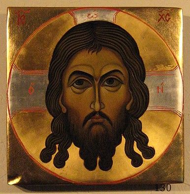 Icon of Holy Mandylion of Jesus Christ [Image of Edessa]  painted by Marchela Dimitrova