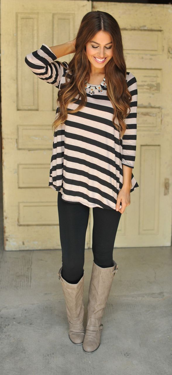 Ideas for black leggings and boots #outfits