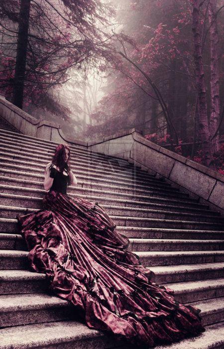 Lady on stairs via @Sabella DziabczenkoDresses Wedding, Wedding Dressses, Dark Fairyte, Enchanted Forests, Parties Dresses, Fantasy Dresses, The Dresses, Dark Fairytale, Stunning Dresses