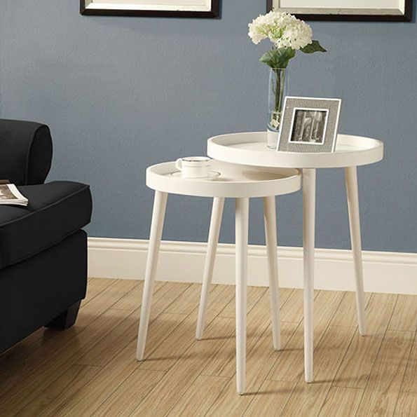 Chelsea Modern Round Nesting Tables In White | Side Table Decorating