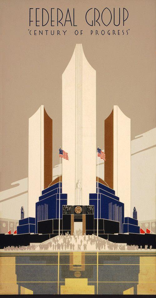 """Century of Progress"", (1934) Chicago World's Fair ~ Original Deco Vintage Poster."
