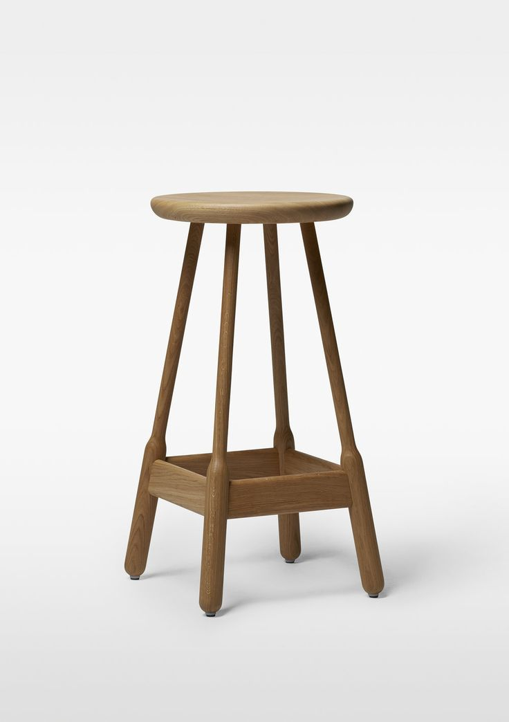 """Designed by Massproductions Wood Bar Stool Available Finishes: Natural Oak, Black Stained Oak, Red Lacquered Beech, Walnut Stained Beech, White Oiled Oak Also Available in Upholstered Seat *Please Inquire for Fabric Selections* 29.1"""" Seat Height x 14.9"""" W x 14.9"""" D / 13.2 lbs. Lead Ti"""