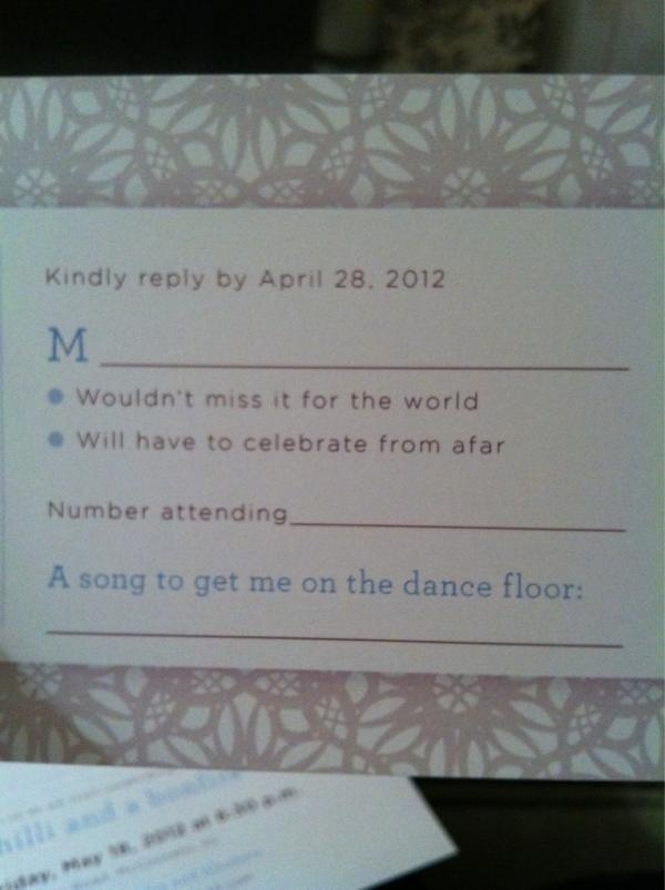 wedding invitation rsvp wording funny%0A what a great wedding rsvp idea  I love this idea of having a song for