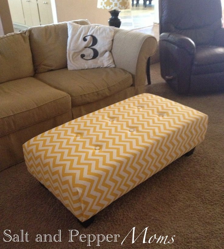 Salt And Pepper Moms Ottoman Reupholstery From Tattered