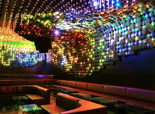 Clubbin' LED style. Dig this magical sparkling rainbow LED club cave! Don't it make you wanna order bottle service and dance on tables? Looks like the inside of my brain...  interiormagz.com