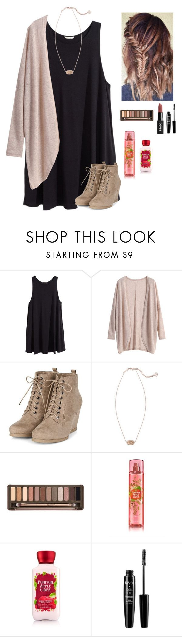 """Heading to a Saturday mass"" by a-devo ❤ liked on Polyvore featuring H&M, Kendra Scott, Urban Decay and NYX"