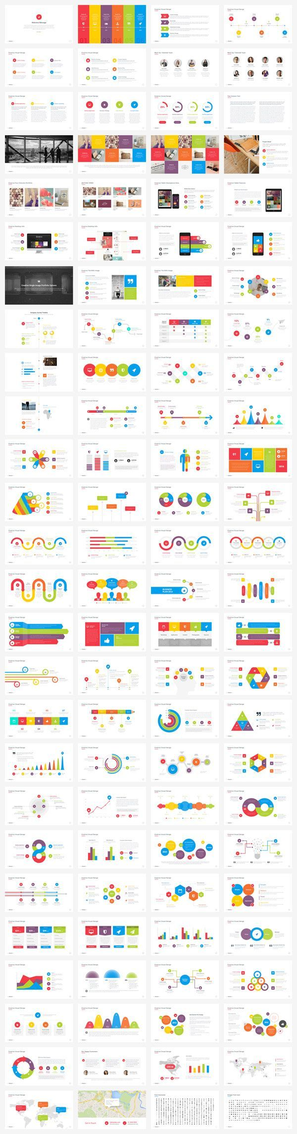Look at all the pre designed slides with colorful infographics, charts, and much more.: