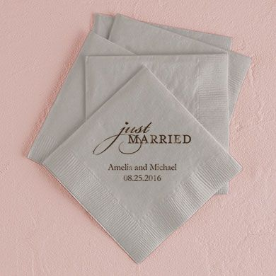 Just Married Printed Napkins