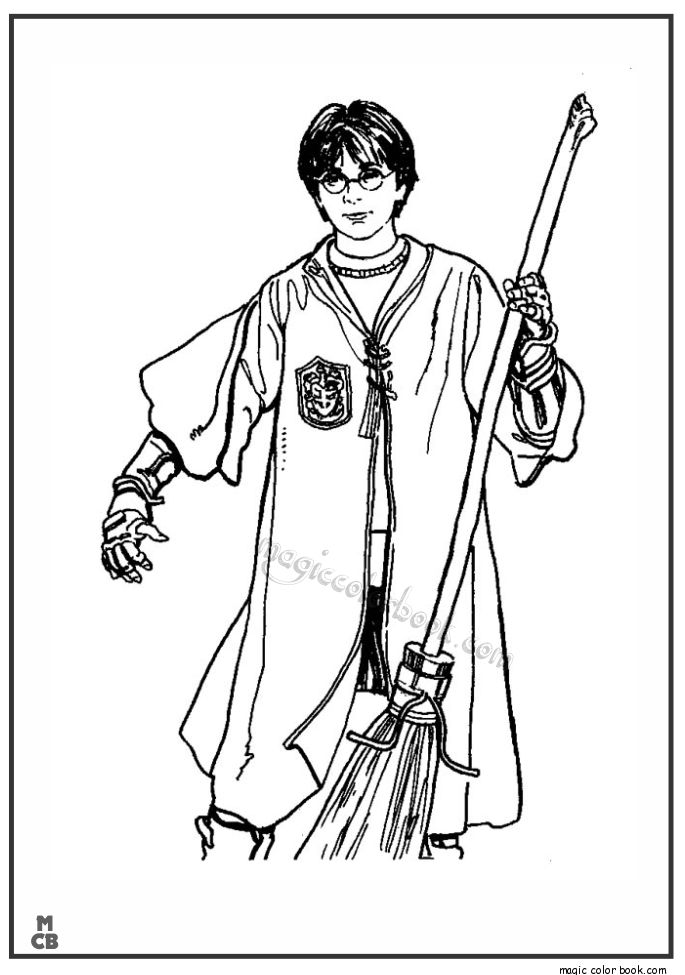 Quidditch Player Harry Potter With Firebolt Coloring Page -2980