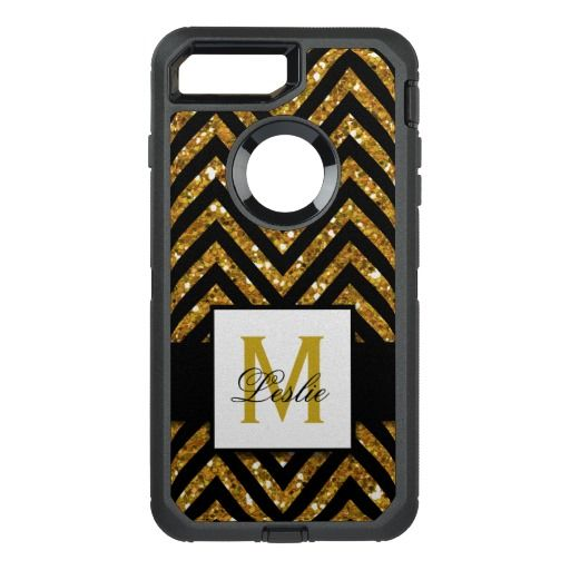 GIRLY, GOLD GLITTER CHEVRON PATTERN OtterBox DEFENDER iPhone 7 PLUS CASE