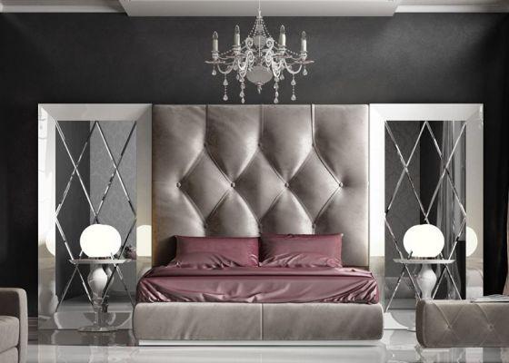 Dormitorio con cabecero tapizado capitonné con botones en terciopelo REBECA 02 y espejos biselados, lacado en blanco alto brillo 220,