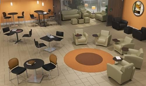 Cool colors are the only way to go when creating a professional waiting area for your business. This space is also highlighted by comfortable Mayline Santa Cruz lounge furniture as well as stylish bistro tables with stainless steel bases for sale at OfficeAnything.com. #OfficeInteriors