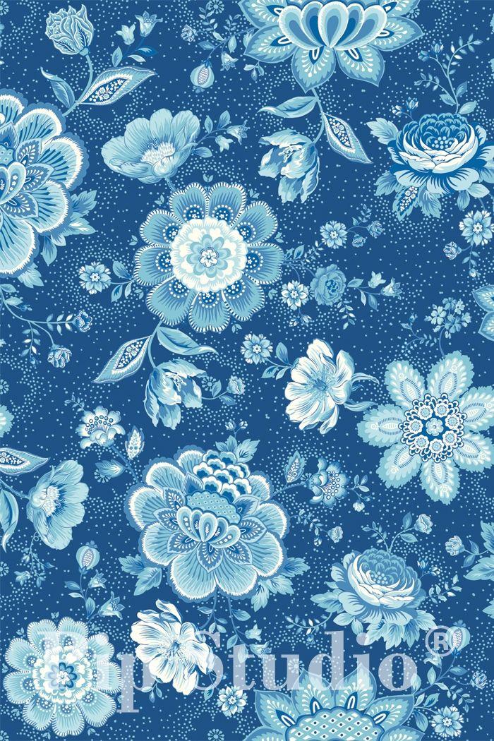 PiP Folklore Chintz   Dark Blue Wallpaper   PiP Studio ©