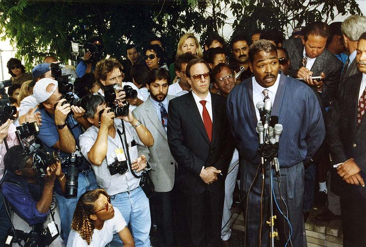 'Can we all get along?' Rodney King outside his lawyer's office in Beverly Hills. (Larry Davis/Los Angeles Times)