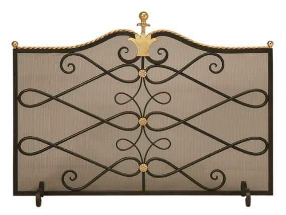 Custom Steel and Brass Fireplace Screen and Mesh - Old Plank - Dering Hall