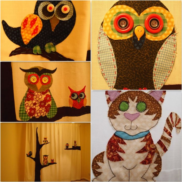 Hand stitched owl curtains (with family cat!)