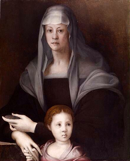 Overly whitened portrait of Maria Salviate de' Medici (17 July 1499 – 29 December 1543) Italian noblewoman, and daughter of Lucrezia di Lorenzo de' Medici. Poses with Giulia de' Medici (c. 1535 – c. 1588)  daughter of Alessandro de' Medici, Duke of Florence. By Jacopo da Pontormo (Jacopo Carucci), c. 1537; Oil on panel, Baltimore, The Walters Art Museum