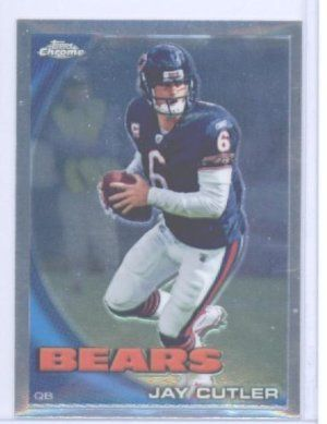 2010 Topps Chrome Football Card #C92 Jay Cutler Chicago Bears by Topps. $0.01. Card is NM-MT Condition or Better. Great looking NFL Trading Card. Look for thousands of other great sportscards of your favorite player or team. 2010 Topps Chrome Football Card #C92 Jay Cutler Chicago Bears. 2010 Topps Chrome Football Card #C92 Jay Cutler Chicago Bears