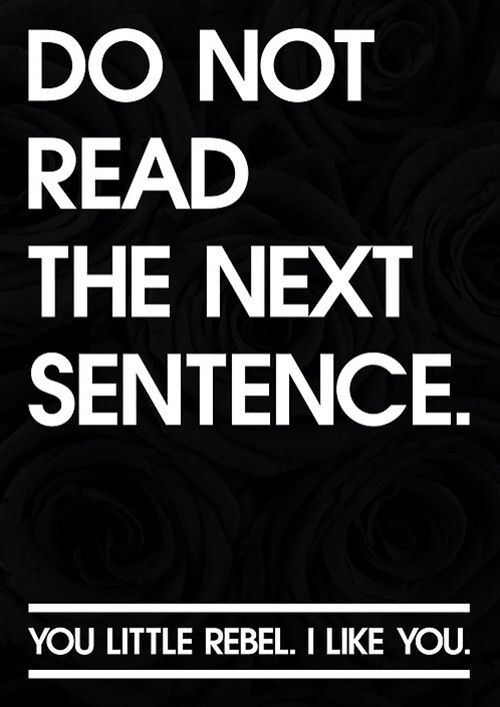 Smirk...Do not read the next sentence ... - Click image to find more Quotes Pinterest pins