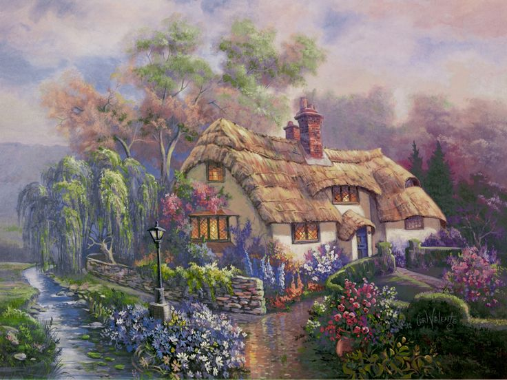 Bedfordshire Sunset by Carl Valente ~ English cottage