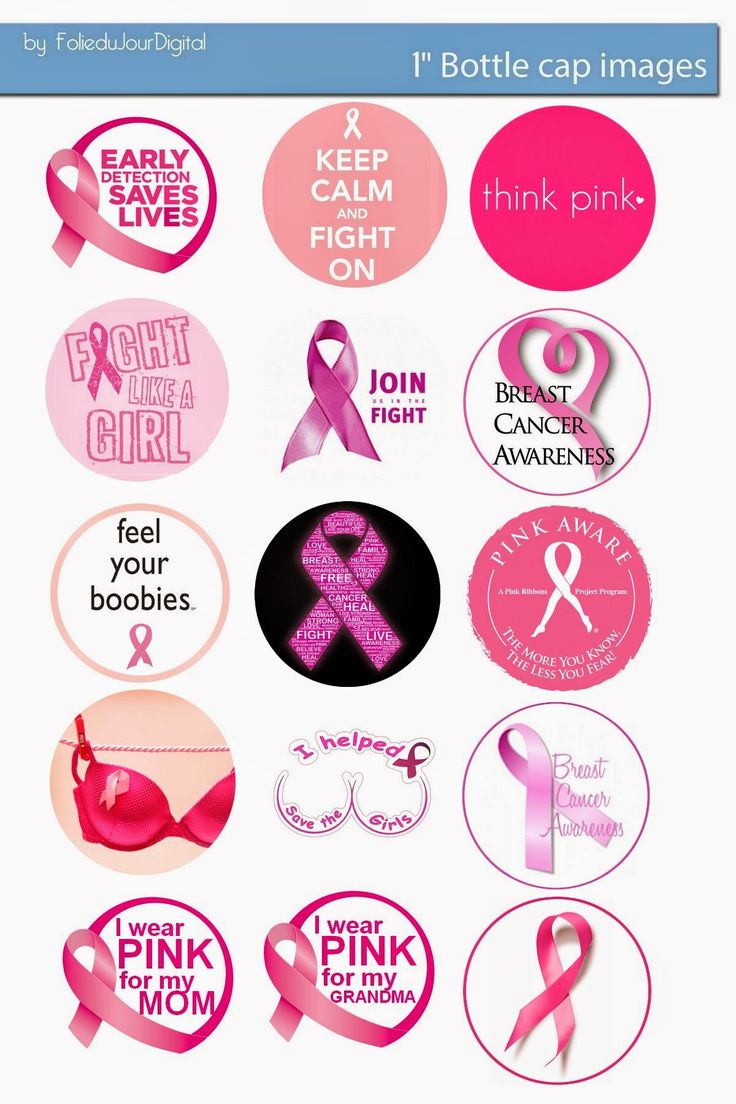 "Folie du Jour Bottle Cap Images: Breast Cancer pink ribbon Awareness free bottle cap 1"" images"