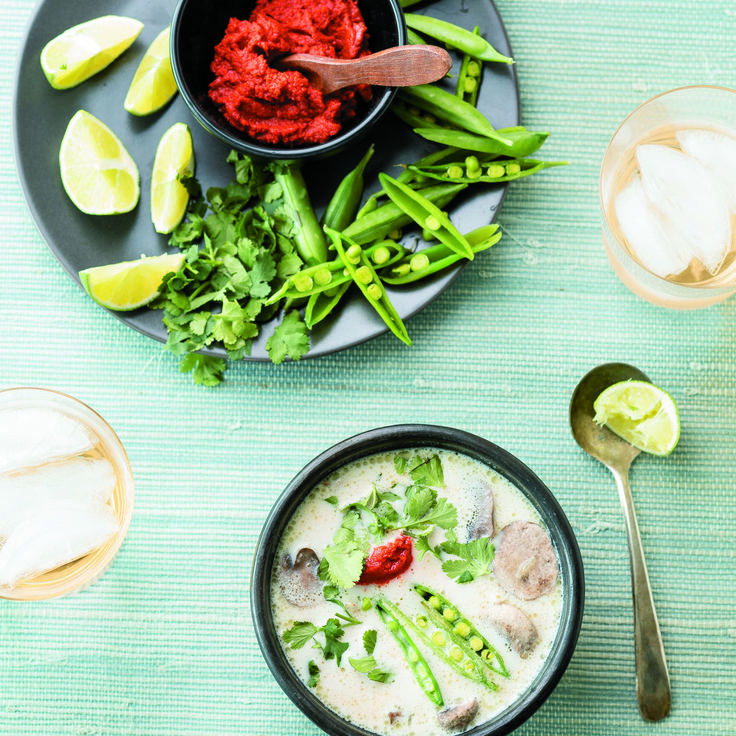 Thai ginger chicken soup - Don't feel daunted by the long list of ingredients – this soup only takes about half an hour to prepare, and is easy to make. Coconut milk and chicken broth are the creamy base of this soup, not forgetting the fresh ginger and fish sauce, which give this comfort food an Asian twist.. #thaifood #dairyfree #soup
