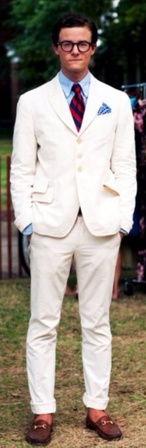 Crisp White Linen Suit, and Tan Gucci Loafers, Classic ...