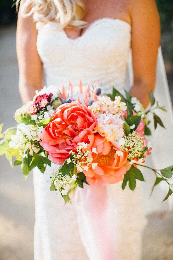 Vibrant Wedding Bouquet Pink And Peach Florals California Bridal Style Pin To Your