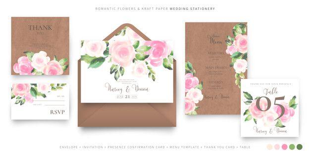 Lade Romantische Hochzeit Briefpapier Vorlage Kostenlos Herunter