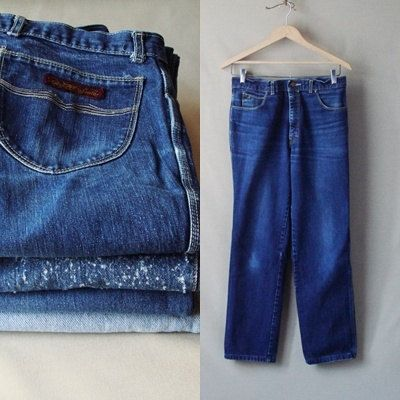80's Sergio Valente Blue Jeans Dark Blue Jeans. Straight Cut Legs