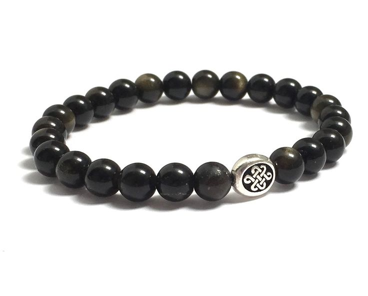 Celtic Infinity Endless Knot and Obsidians Mala Bracelet