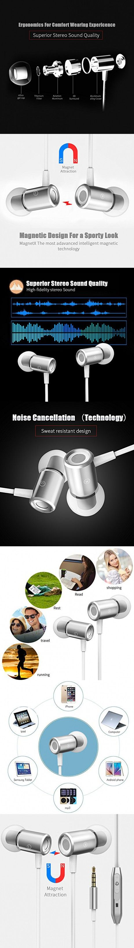 In-Ear Earbuds, VANTEN Magnet Attraction Wired In-Ear Hi-fi Sports Earbuds Headphones Stereo Earphones Earbuds with Mic Stereo Bass Headset with Volume Control and 3.5mm Jack (Silver)