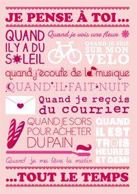 """Une carte papier pour lui dire : """"Je pense à toi tout le temps"""" http://www.dromadaire.com/cartes-saint-valentin"""