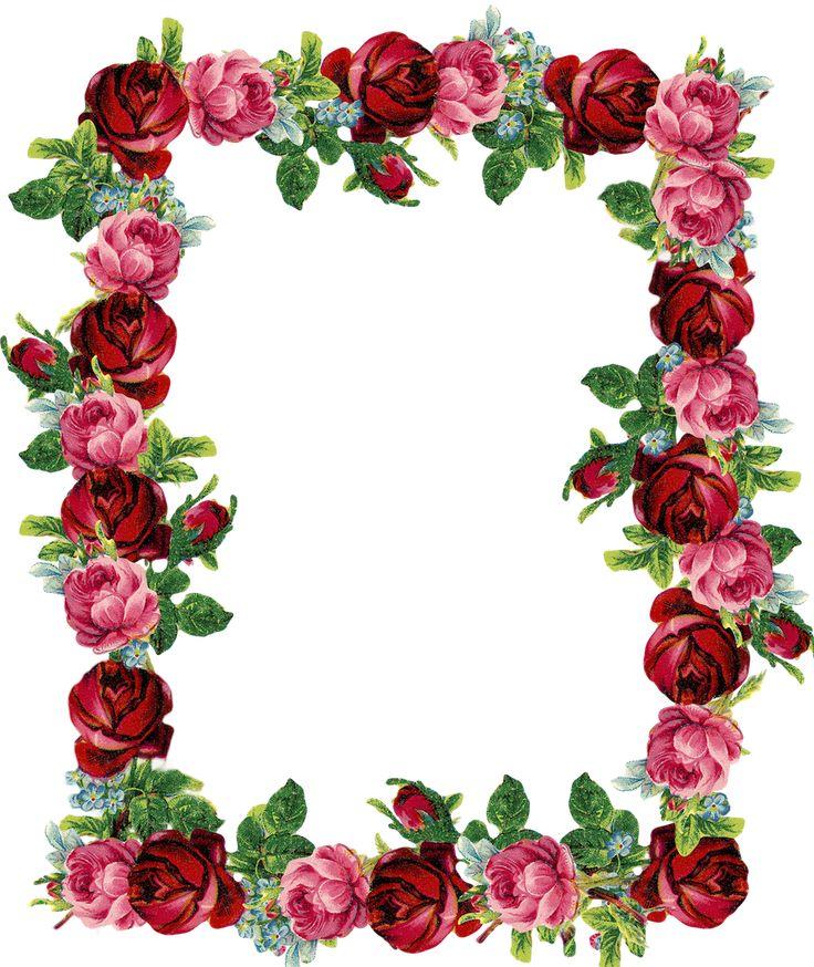 Livre do vintage digitais aumentou quadro e fronteira png - Rose frame - brinde | Meu roxo Park - printables DIY e downloads