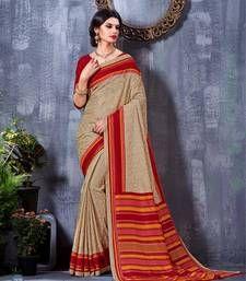 Buy Beige printed art silk saree with blouse tussar-silk-saree online