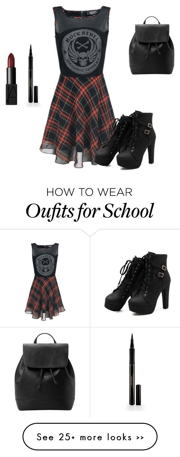 """School..."" by leeta01 on Polyvore featuring Elizabeth Arden, NARS Cosmetics and MANGO"