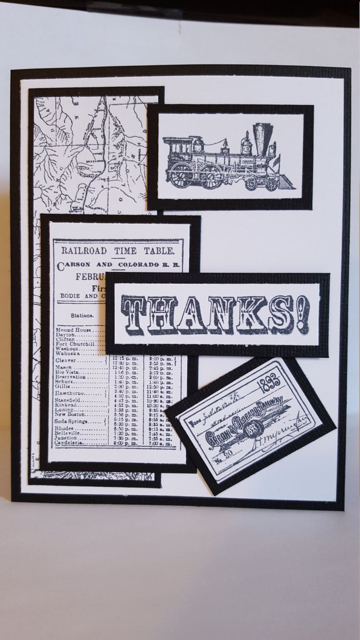 Black and White Train Theme Handmade Card by SimoneSaysCardShop on Etsy