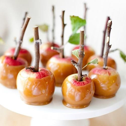 caramel apples - don't forget the twig handles!