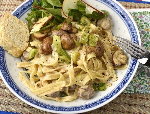 Vegansk pasta med svamp