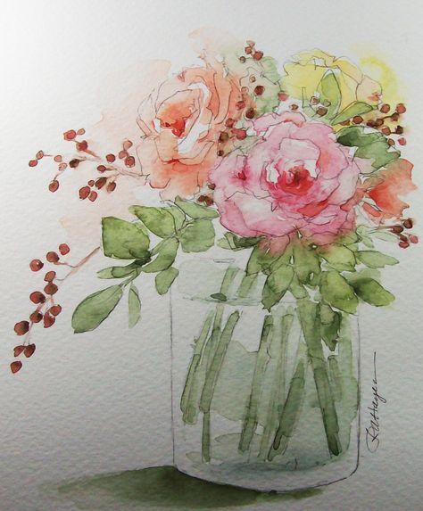 Blumenstrauß Rosen Original Aquarell von RoseAnnHayes auf Etsy