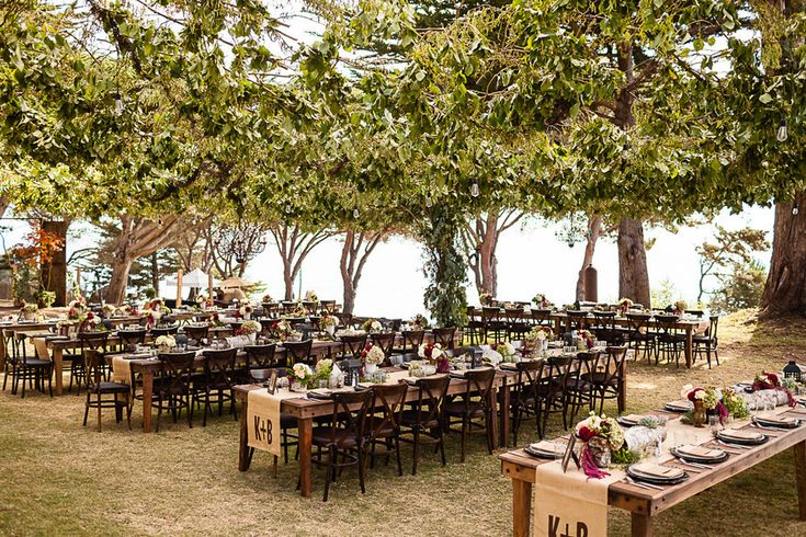 Big Sur Wedding from Marcel and Meher Photography, gorgeous canopy of trees over reception tables